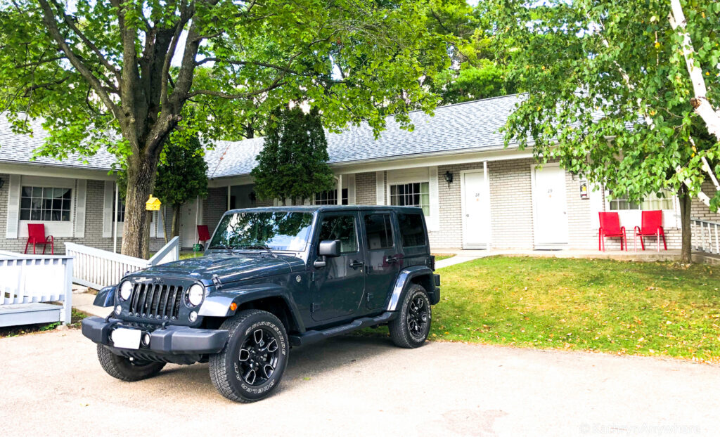 Ontario Road trip - Jeep Wrangler at the Colonial Inn and Spa where we stayed in Gananoque, Ontario