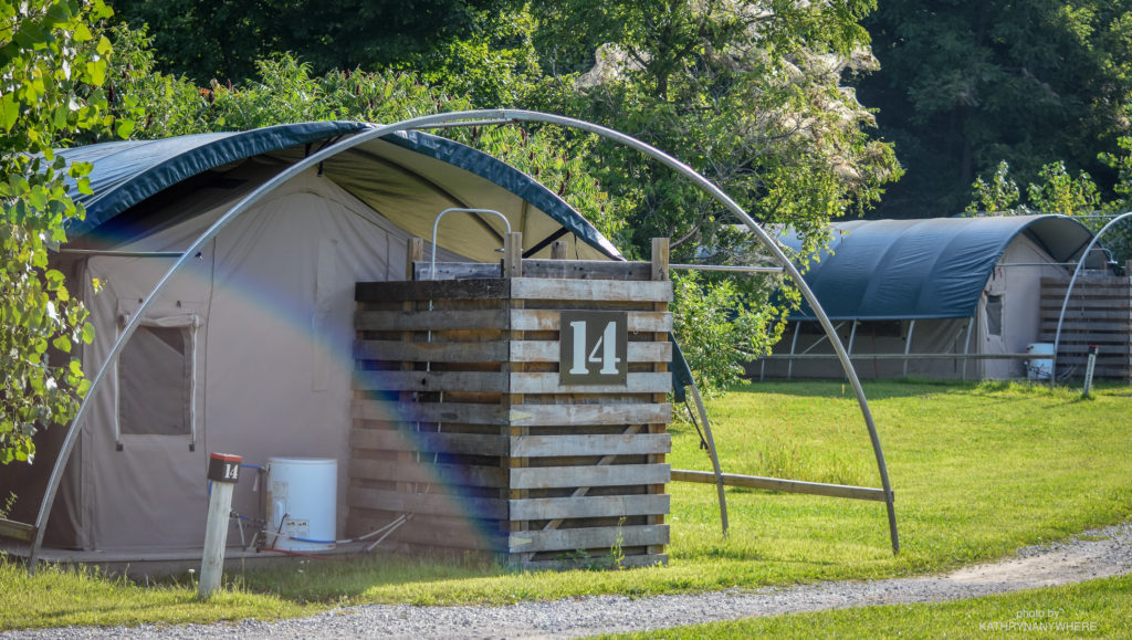Luxury Family Glamping Ontario, back of tent 14