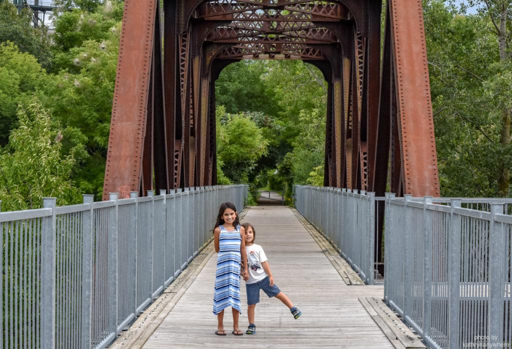toronto kids on a bridge in waterford, norfolk county