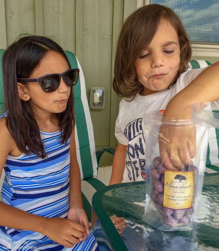 toronto kids enjoying time outside eating lavender infused chocolate