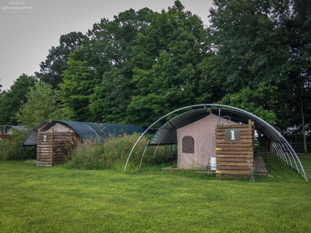 Luxury Family Glamping Ontario, back of tents 1 and 2