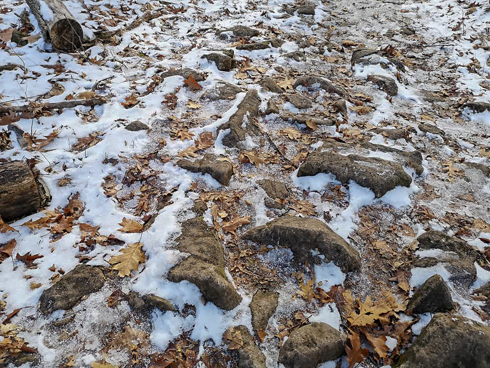 Icy hiking terrain - Photo by Melissa Ponte at Silvercreek Conservation area #silvercreekconservationarea #brucetrail #womenwhoexplore #womenwhoexploreontario #discoveron  #ontarioforyou  #girloutdoor #girlsthatwander  #hikingculture #gogalavanting  #girlswhohike