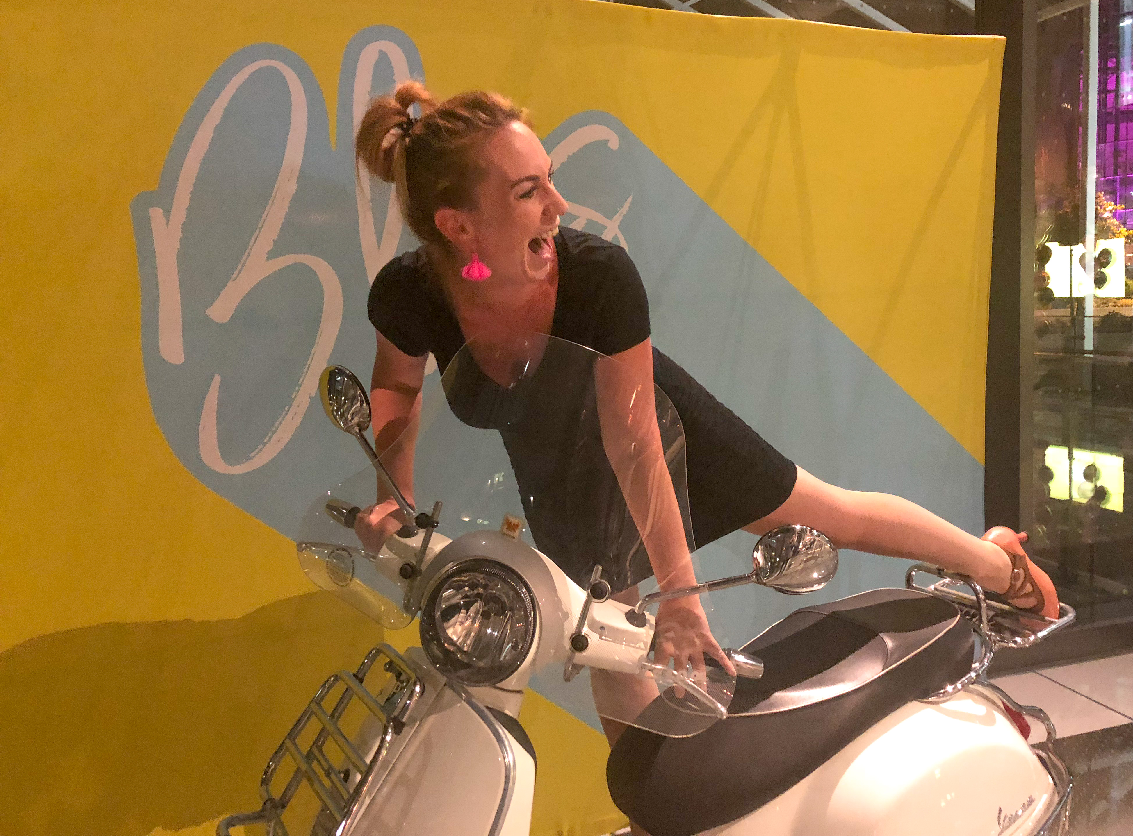 KathrynAnywhere on a vespa #dressbyprana #pranagift #sustainablefashion #fluevogshoes #hotelxtoronto #findyourbliss #happinessisavespa #meanttobehappy