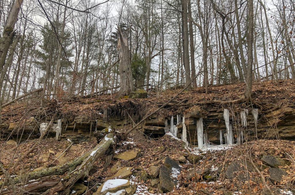 Frozen Waterfall on hike in Silvercreek Conservation Area #silvercreekconservationarea #brucetrail #womenwhoexplore #womenwhoexploreontario #discoveron #ontarioforyou #girloutdoor #girlsthatwander #hikingculture #gogalavanting #girlswhohike #explorecanada