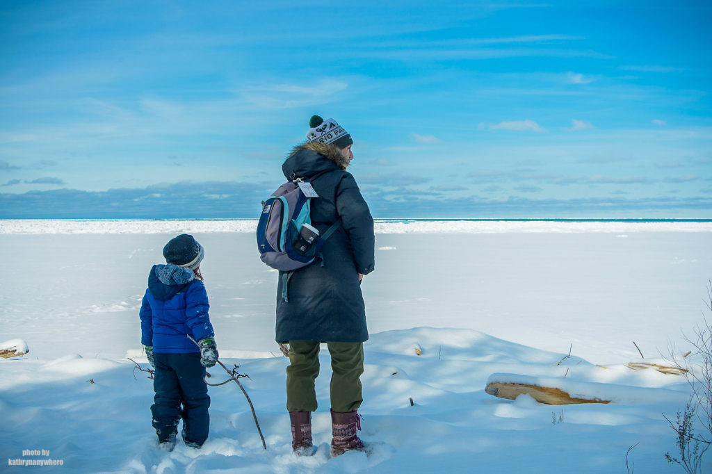 Little Man and I looking out at Lake Huron while winter camping at MacGregor Point Provincial Park in February #findyourselfhere #macgregorpointprovincialpark #macgregorpoint #macgregorpp #ontarioparks #yurtcamping #wintercamping #outdoors #adventureparenting #portelgin #brucepeninsula #lakehuron PHOTO BY BRIAN TAO, LUXOGRAPHY 2019