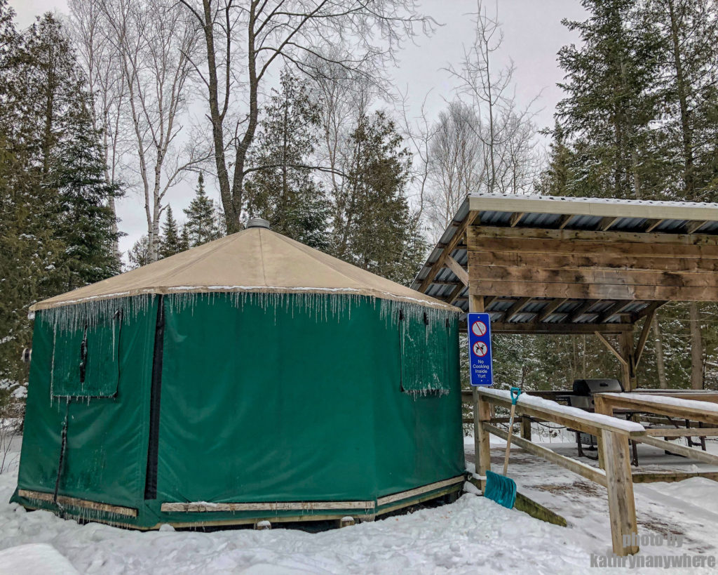 Green Ontario Parks yurt for winter camping at MacGregor Point Provincial Park #findyourselfhere #macgregorpointprovincialpark #macgregorpoint #macgregorpp #ontarioparks #yurtcamping #wintercamping #outdoors #adventureparenting #portelgin #brucepeninsula PHOTO BY kathryn dickson