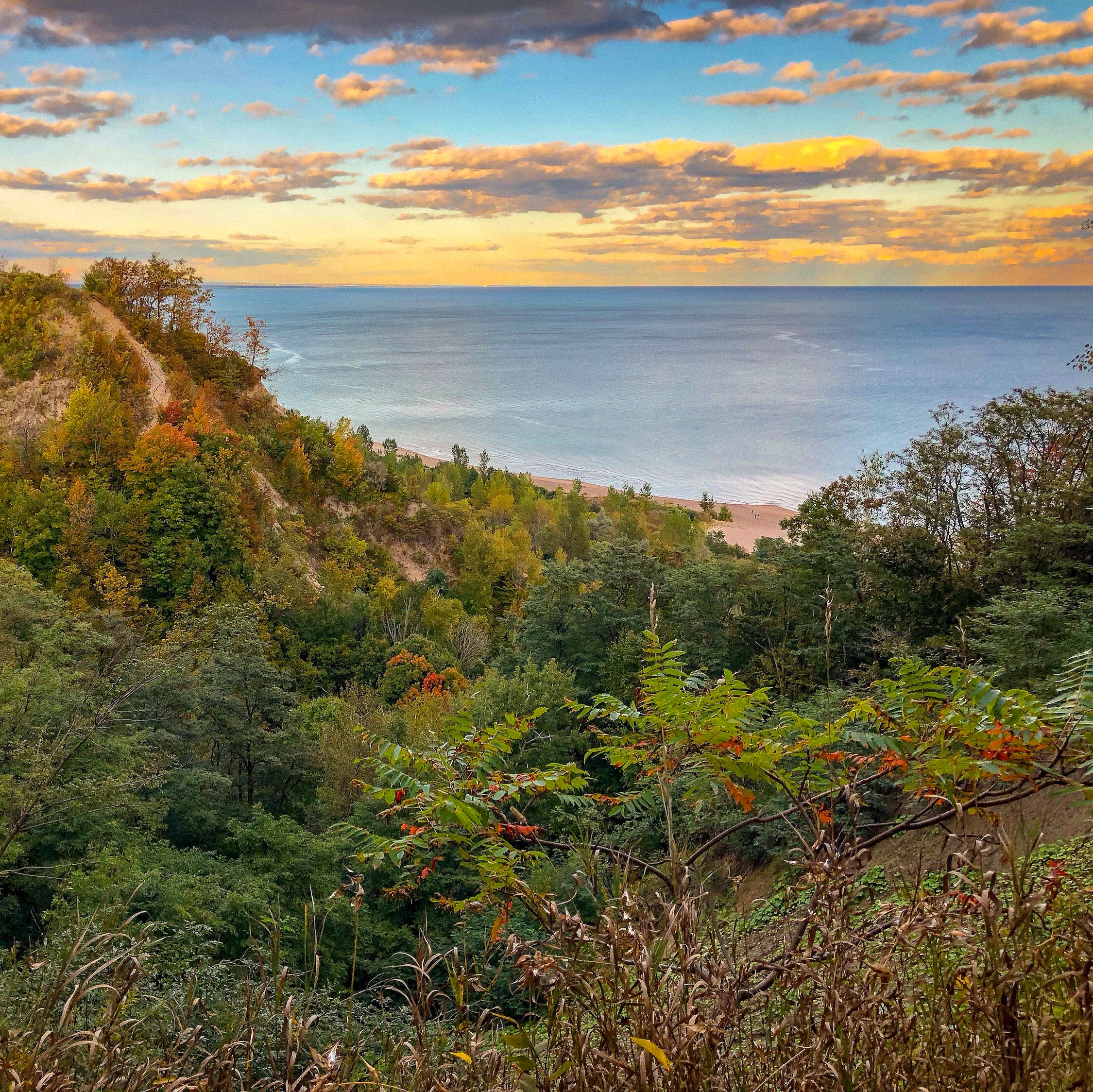View from Scarborough Bluffs, Toronto Ontario. Unique places to explore in Ontario #autumncolours #fallfoliage #curiocitytoronto #visualizetoronto #scarboroughbluffs #scarborough #scarboroughontario #torontoviews #canadiancreatives #imagesofcanada #viewsfordays #cliffside #exploreontario