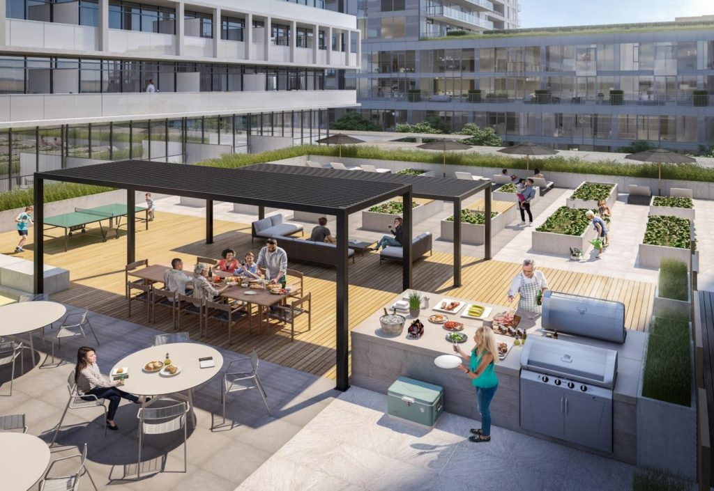 The outdoor terrace at Daniels DuEast offers a comfortable, open, and totally re-energized space. Here, you'll find inviting dining spaces and BBQs for al fresco meals, a play area for the kids and so much more. Day or night, the terrace is set to be your sanctuary.