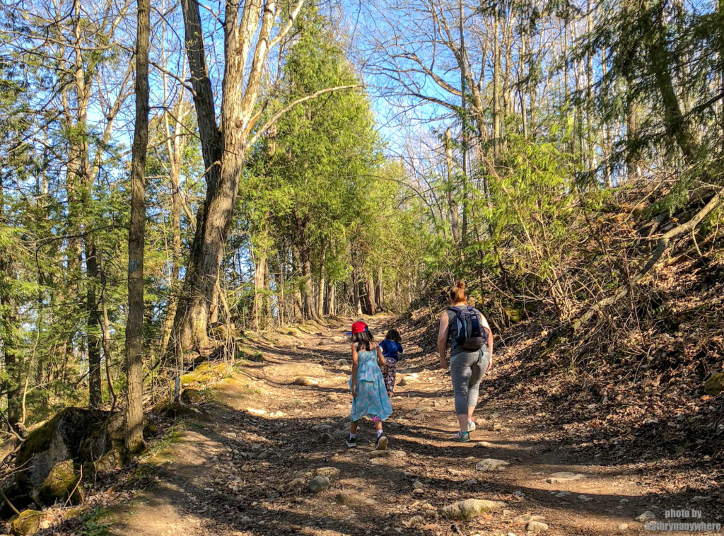 walking uphill at mono cliffs provincial park