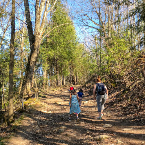 Best hiking for families in Southern Ontario - walking uphill at mono cliffs provincial park