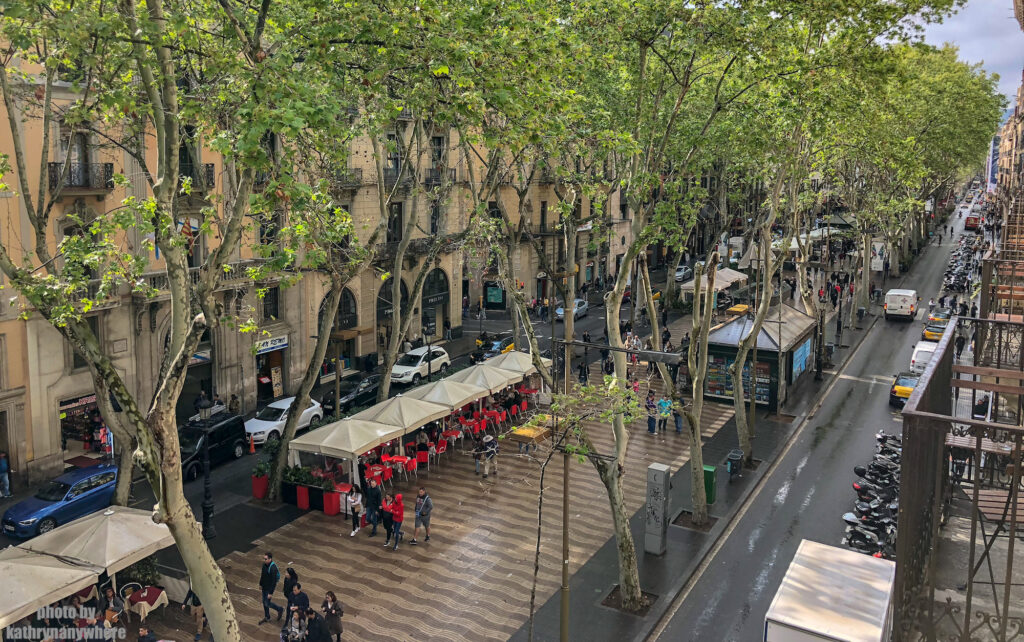 view of La Rambla from our third floor balcony at Cuatro Nanciones in Barcelona, Spain