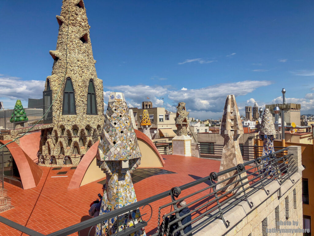 from the roof top of the Palau Güell mansion in Barcelona, Spain
