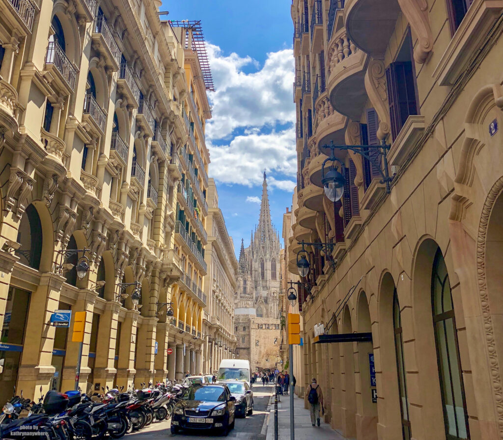 walking through the gothic quarter in barcelona, spain