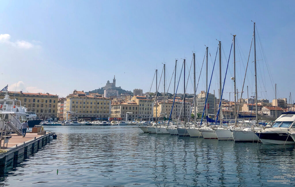 Notre Dame de la Garde from the old port area in Marseille, France