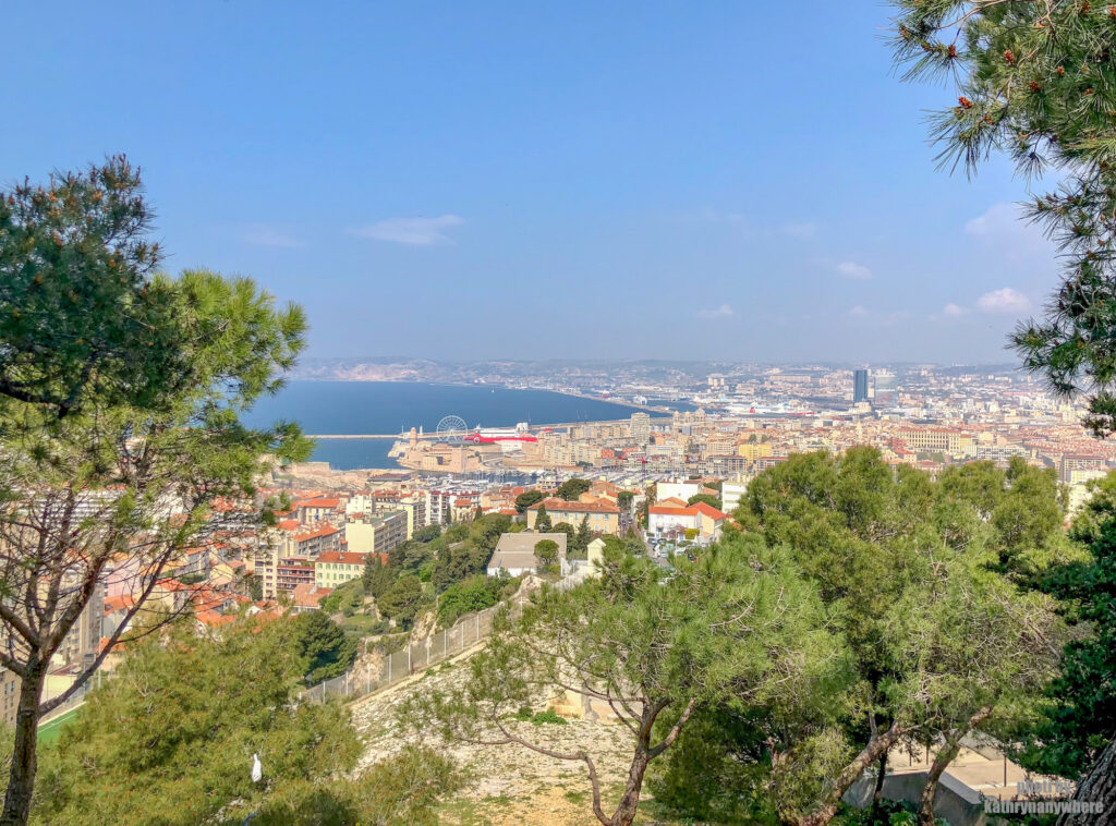 Beautiful Marseille from the grounds of Notre Dame de la Gard in the south of France