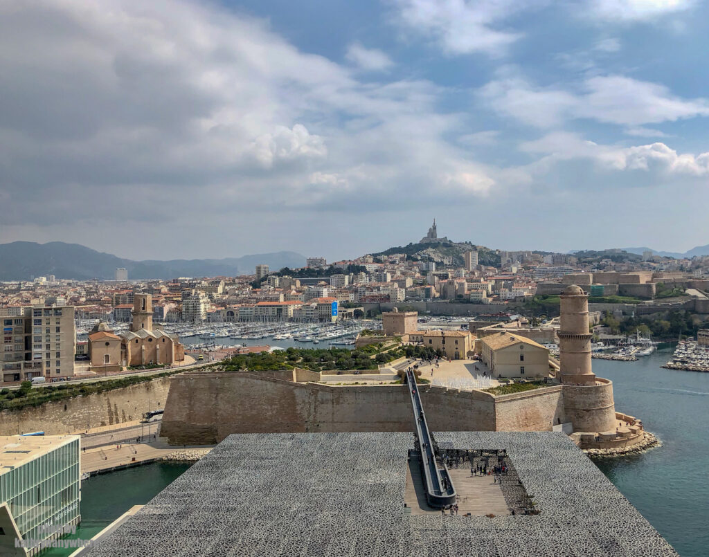 view of Marseille, France from the top of the ferris wheel in the old part area