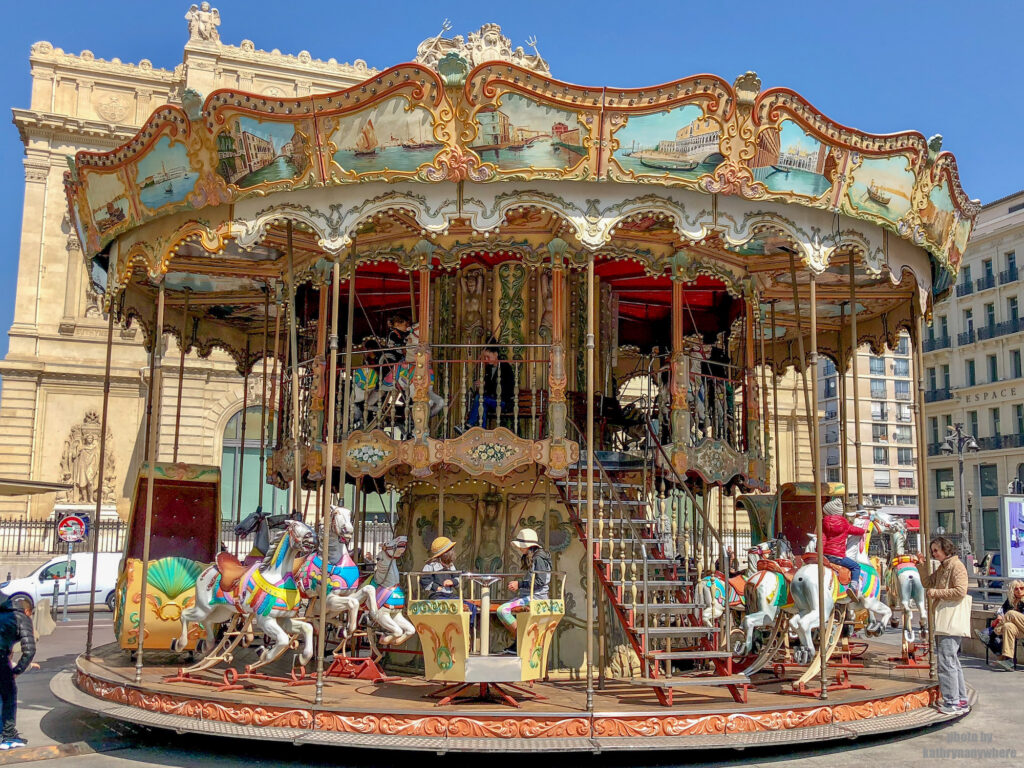 Venetian carousel in the old port area of Marseille, France