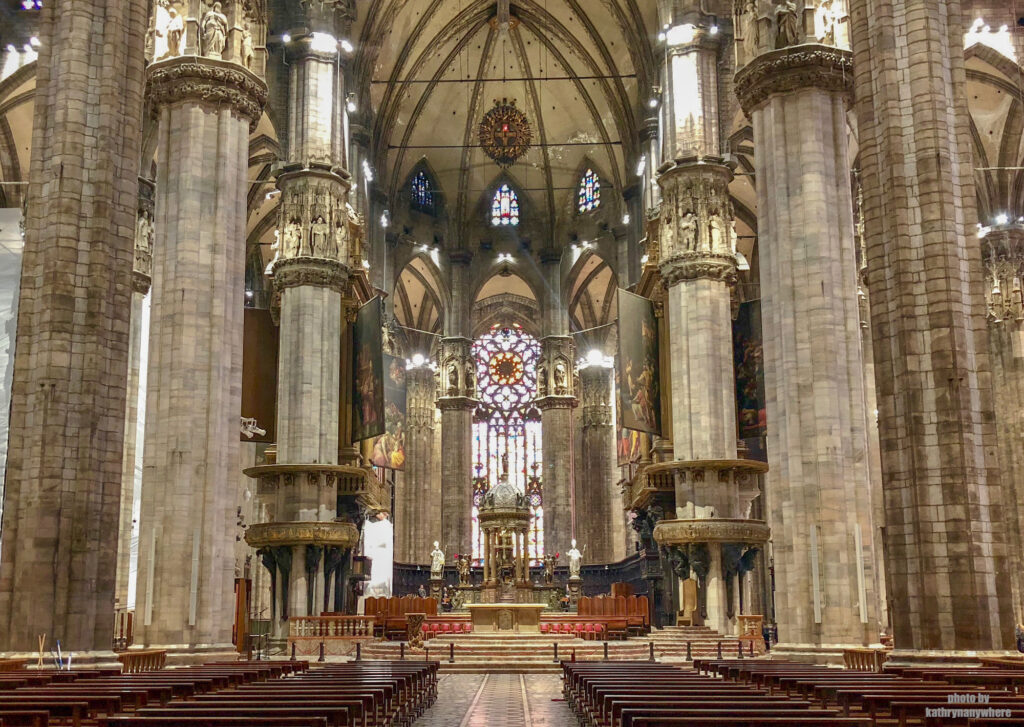 inside the cathedral of the duomo in milan, italy
