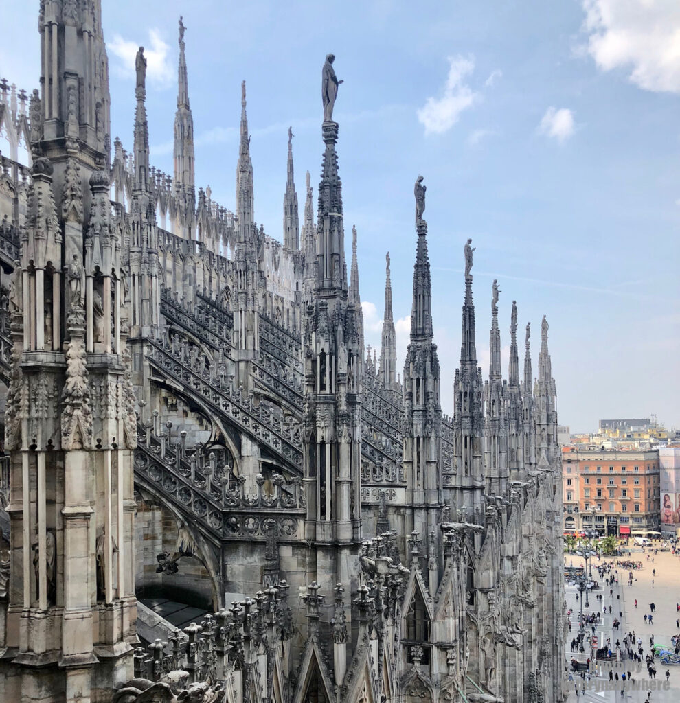 Side of the Duomo Cathedral in Milan, Italy
