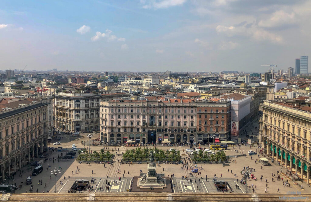 view of Milan from the roof of the Duomo Cathedral in Italy