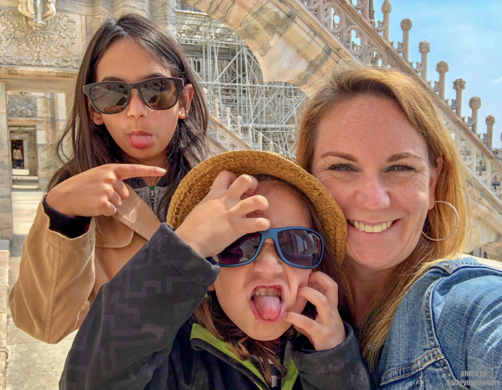 family selfie in front of the Duomo on our best of western europe itinerary