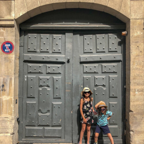 The doors of Lisbon, Barcelona and Paris. This door picture with my children was taken in 7th arrondissement neighbourhood in Paris, France