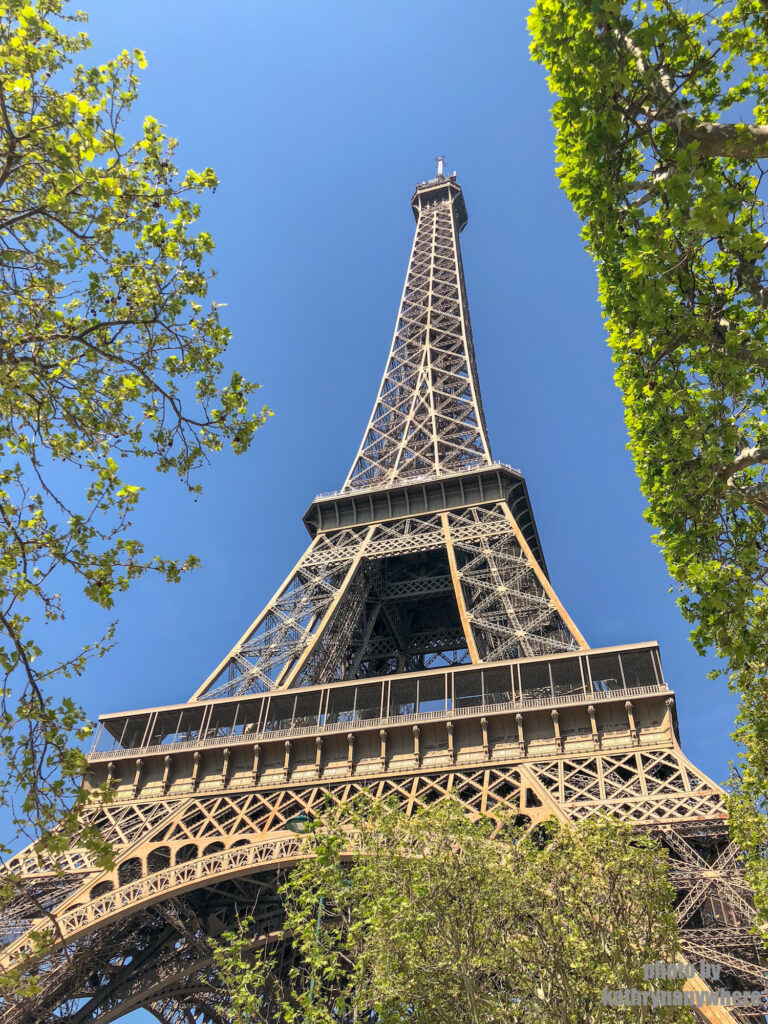 Eiffel Tower from outside security in Paris, France