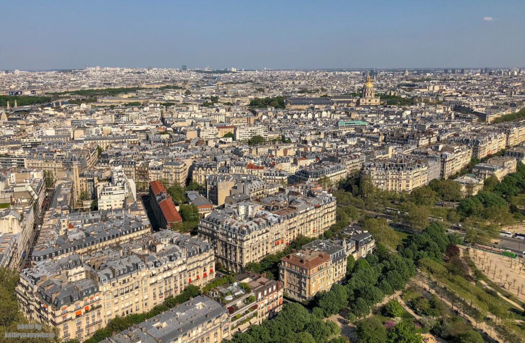 View of the 7th arrondissement in Paris from the Eiffel Tower