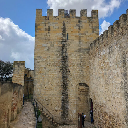 inside the grounds of Castelo Sao Jorge in Lisbon, Portugal
