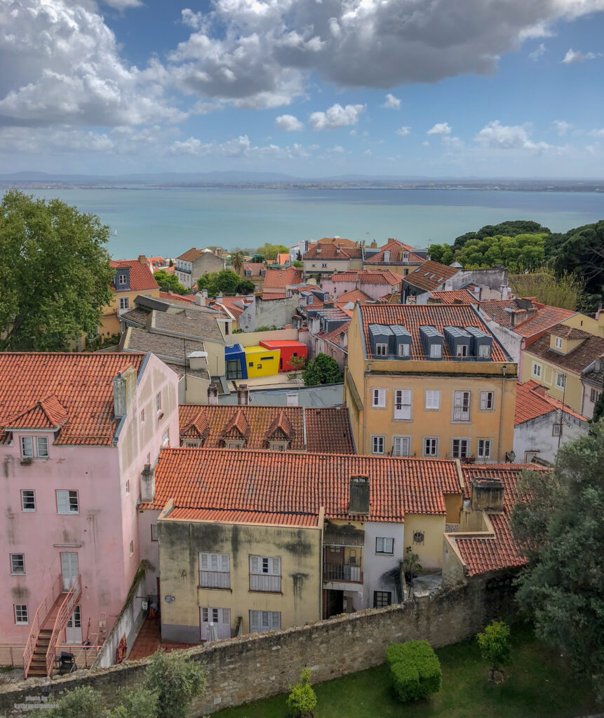 beautiful houses of Alfama in Lisbon, Portugal as seen from Castelo Sao Jorge