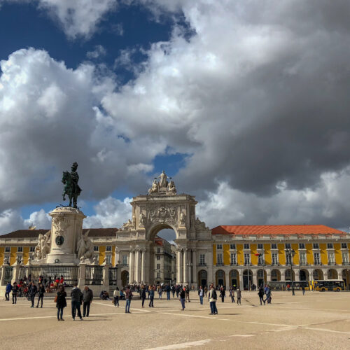 Welcome to Commerce Square / The Praça do Comércio in Lisbon, Portugal. Located on the Tagus river, the square is still commonly known as Terreiro do Paço because it was the location of the Paços da Ribeira (Royal Ribeira Palace) until it was destroyed by the great 1755 Lisbon earthquake.