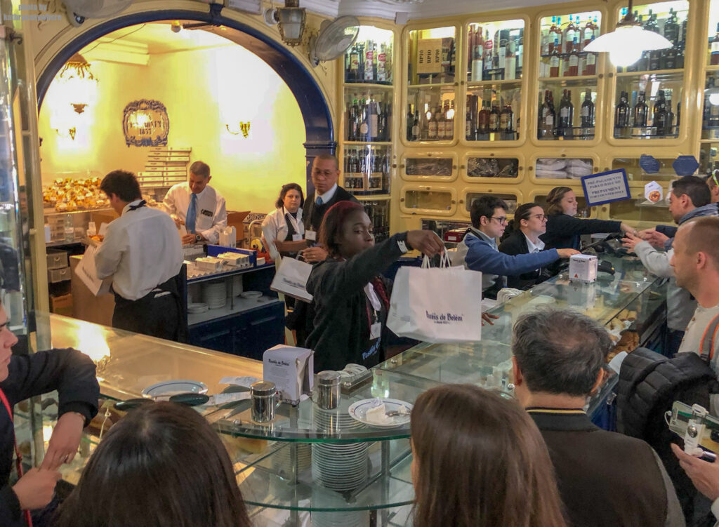 The inside madness of Pastéis de Belém in Lisbon, Portugal. This was an added stop in our Lisbon itinerary