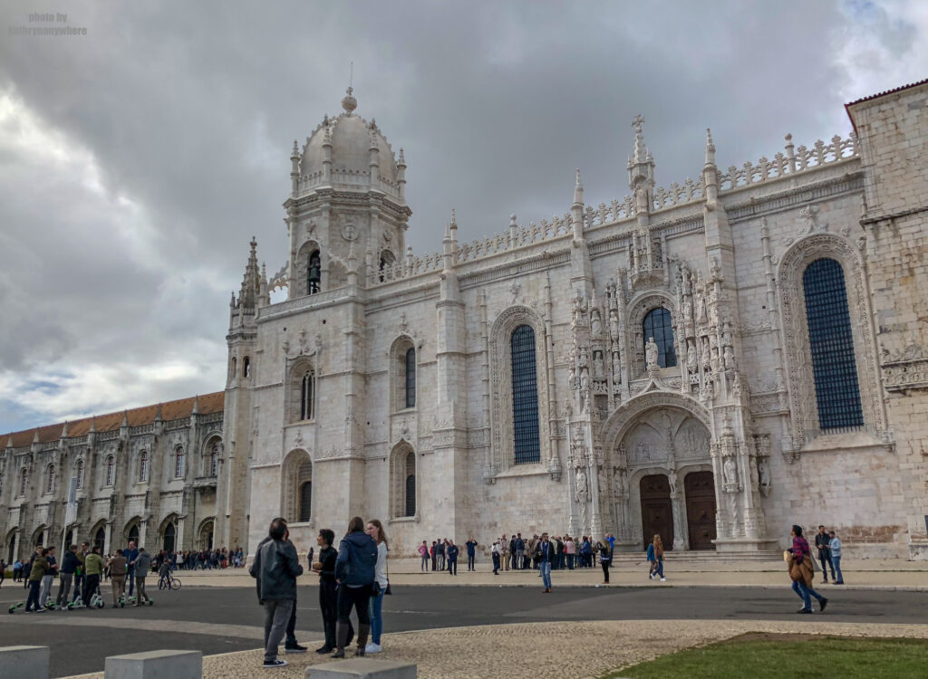 Outside the Cloisters of Jeronimos Monastery in Lisbon Portugal. We had no real intention of visiting here, but since it was a stop on our Belem tour, we did.