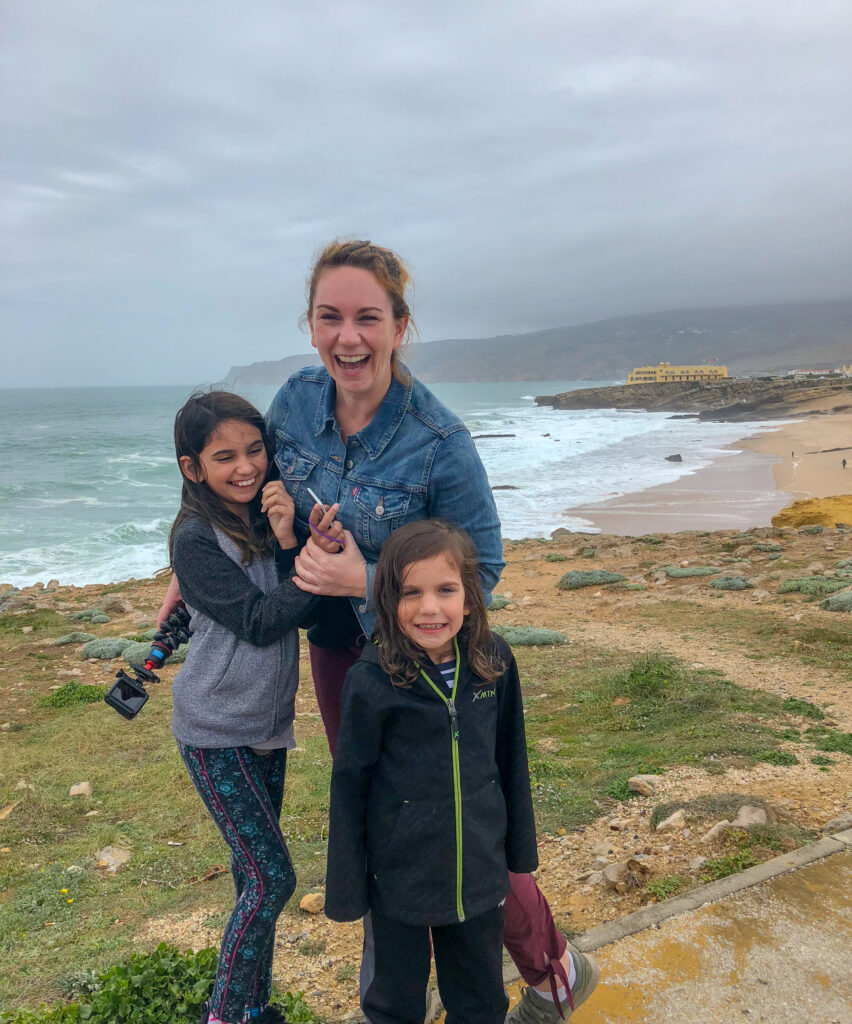 The kids and I outside of the town of Cascais on the Atlantic Ocean.