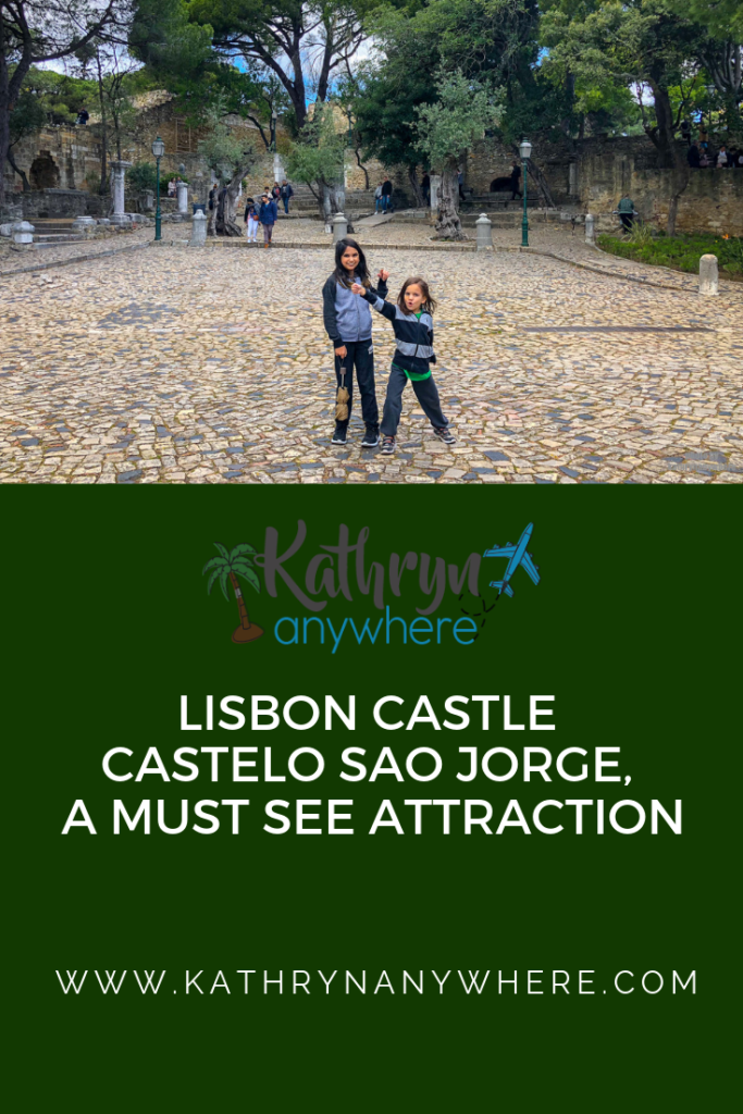 Lisbon Castle, Castelo Sao Jorge - A Must See Attraction in Portugal. #travelportugal #portugaltravel #lisbonportugaltravel #lisbondaytrips #lisboncastle #lisbonthingstodoin #lisbonthingstosee #thingstodoinlisbonportugal #familytravel #bestcastlesineurope #bestcastlesinportugal #thingstodoinportugal #travellisbon #lisbontravel #lisbonwithkids #castelosaojorge