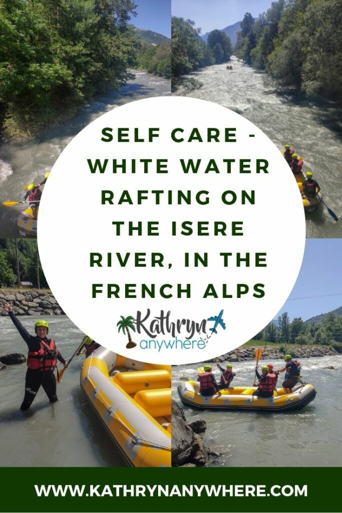 Going white water rafting in the French Alps on a self care mission. Amazing adventures in the outdoors to be had in the alpine region from this all inclusive resort. Find me on the hiking and biking trails! #AmazingYou #lesarcspanorama #clubmed #allinclusiveresort #FrenchAlps #VanoiseNationalPark #BourgSaintMaurice #familyvacationtime #arc1600