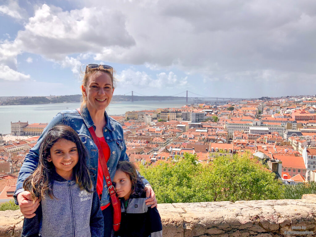 Mom and two children at Lisbon Castle, Castelo Sao Jorge, Portugal