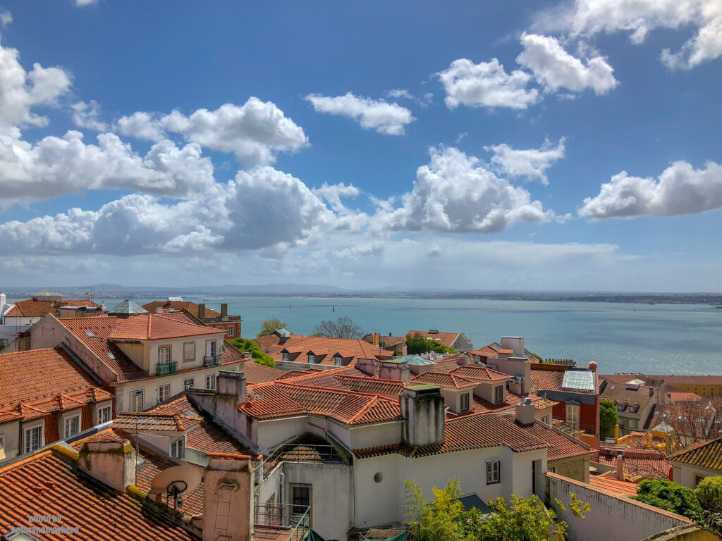 The Targus River as seen from the the castle in Lisbon, Portugal