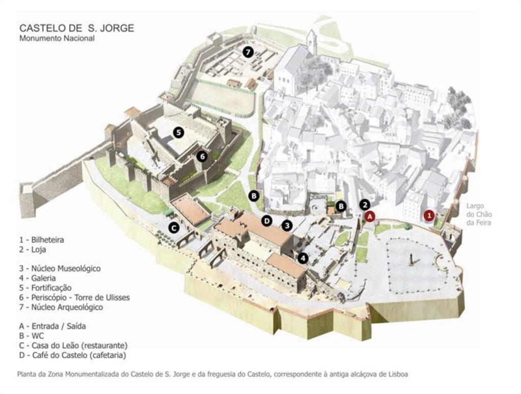 Map of Castelo Sao Jorge from http://castelodesaojorge.pt