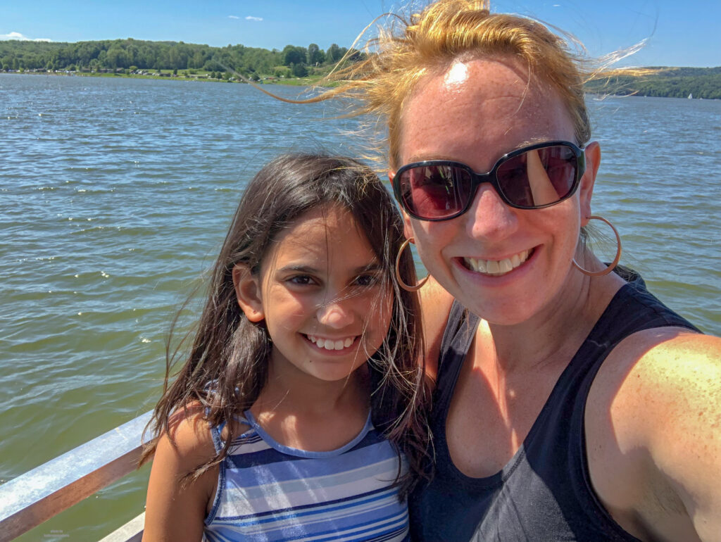 My daughter and I on Lake Arthur on a nature cruise
