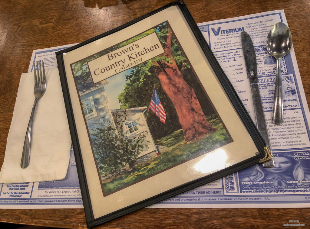 The menu from Brown's Country Kitchen in Portersville, PA