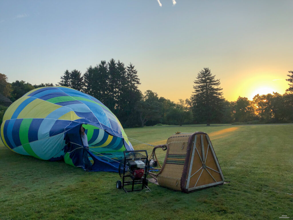 Sunrise - getting the hot air balloon set up with The Sky's the Limit Ballooning in State College, PA
