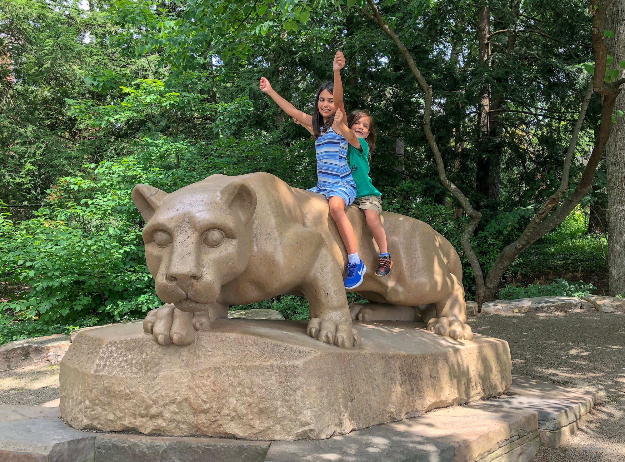 On a Pennsylvania road trip, it's essential to make it to State College to pose with the Nittany Lion shrine. The Nittany Lion is the mascot of Pennsylvania State University in University Park, Pennsylvania, USA and its athletic teams.
