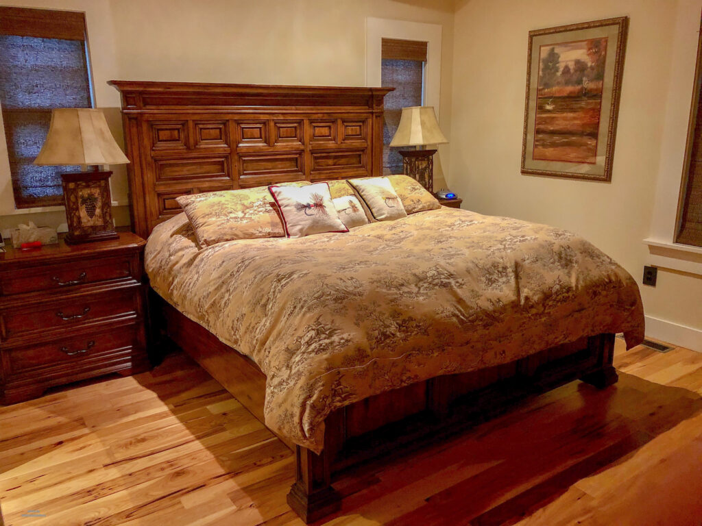 Master bedroom in the family lodge at Homewaters in Spruce Creek, PA. We had the pleasure of staying here on our Pennsylvania road trip.