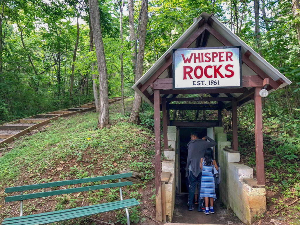 Whisper rocks sign at Lincoln Caves and Caverns on our guided tour in Pennsylvnia