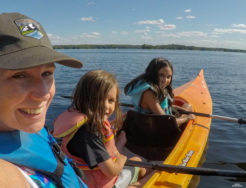 My kids and I all in a kayak together on Stoney Lake