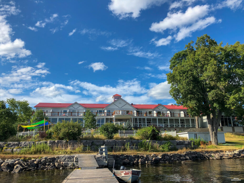 Main building of Viamede Resort as seen from the end of the dock on Stoney Lake
