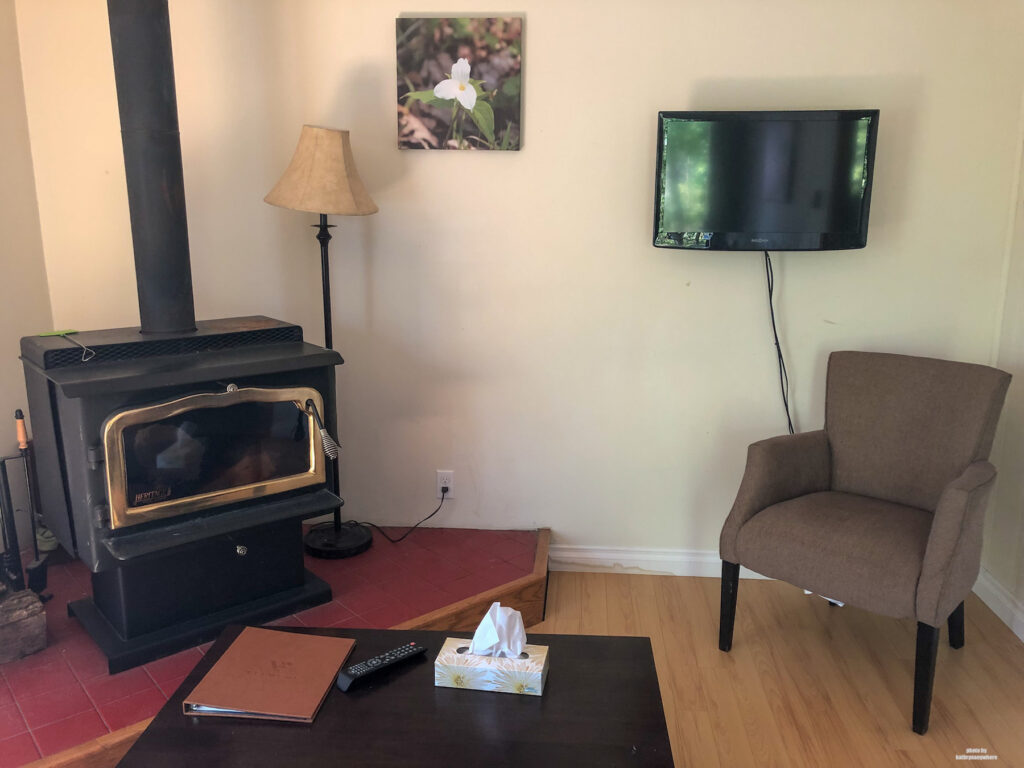 fireplace and small tv