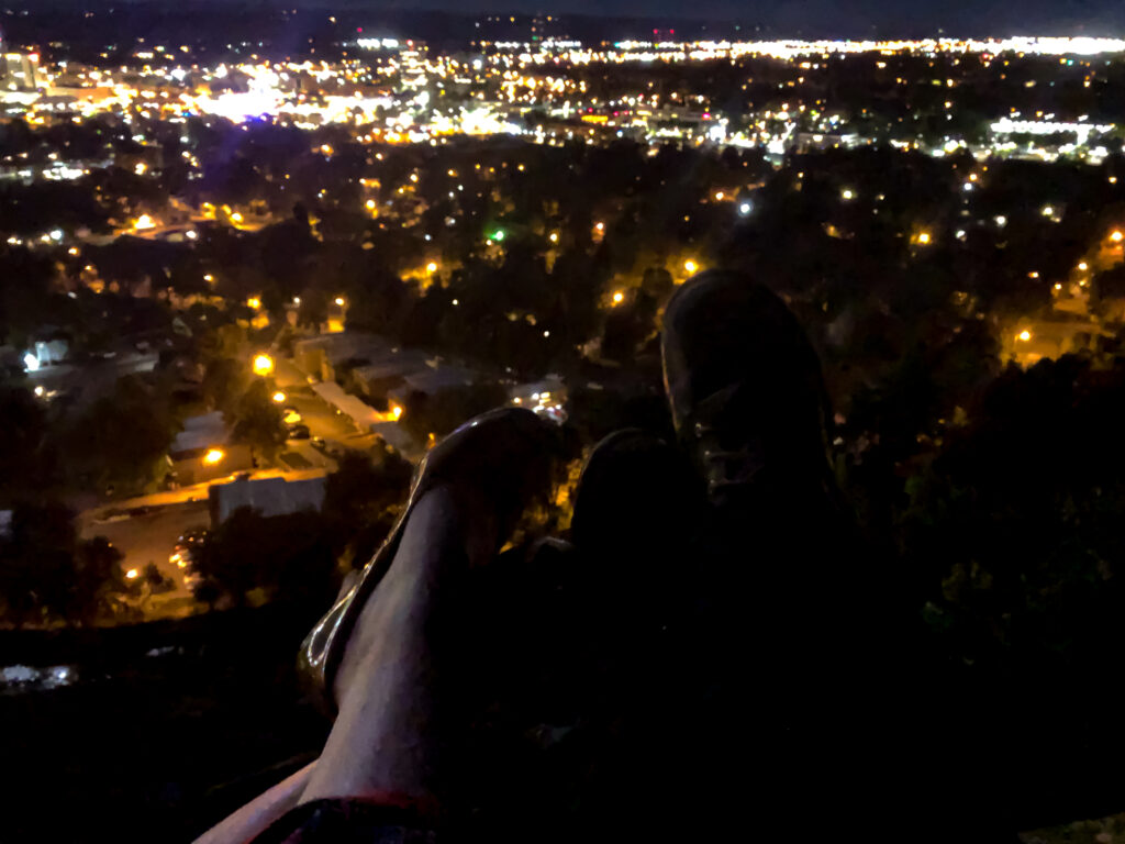My Montana Moment, at swords rimrock park overlooking Billings, high heels, a harvest moon and a monster truck