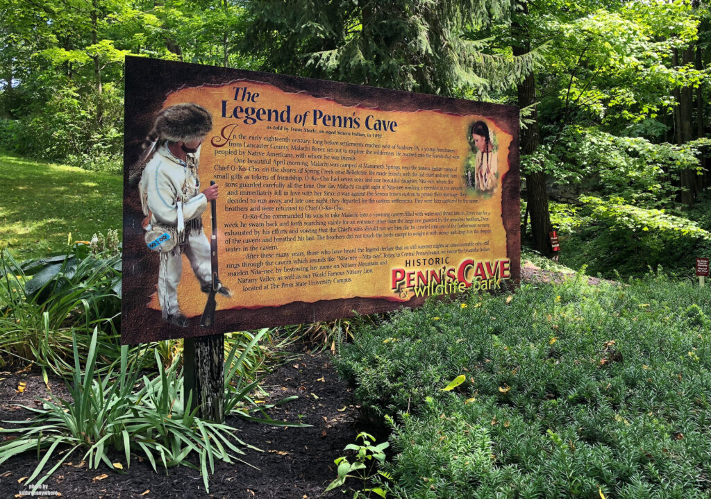The morbid love and death story at the entrance to Penn's Caves in state College, PA